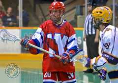 New Westminster Salmonbellies  Patrick Miles defense (Pucked in the Head) Tags: newwestminstersalmonbellies salmonbellies newwestminster newwest coquitlamadanacs coquitlam adanacs wla wlalacrosse lacrosse westernlacrosseleague boxlacrosse jasonkurylo kurylo puckedinthehead wwwpuckedintheheadcom royalcity