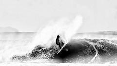 Croyde Surfer with Pencil filter effect (Livesurfcams) Tags: surfer devon art pencil filter nikon wave spray sea atlantic ocean