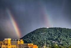 Roanoke Star Double Rainbow (Terry Aldhizer) Tags: rainbow summer roanoke star mill mountain city sky clouds rain showers storms july buildings blue ridge optic reflection terry aldhizer wwwterryaldhizercom