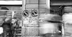 Divieto di sosta (Reflexionist) Tags: people blackandwhite bw signs sign movement nikon noparking persone stop d750 movimento ban cartello biancoenero cartelli sosta divieto divietodisosta reflexionist nikond750
