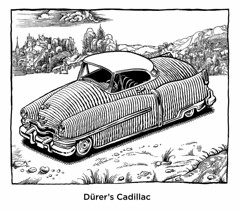 Dürer's Cadillac (Don Moyer) Tags: moleskine ink notebook drawing cadillac moyer woodcut brushpen durer donmoyer