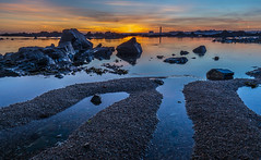 St. Clements low tide, No. 5. (Tim_Horsfall) Tags: ocean uk light sunset sea sky seaweed water beautiful st clouds canon landscape eos coast is seaside sand rocks colours outdoor tide jersey usm clements 6d f4l ef1635mm