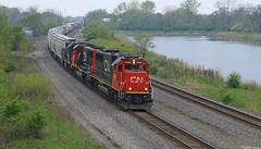 CN 5448 (GLC 392) Tags: railroad rain cn train ic illinois cloudy central indiana railway canadian dyer national transfer in emd gp382 sd60 5434 9628 5448