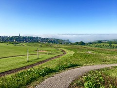 Mist in the valley (garlick.rachel) Tags: morning blue sky mist green beauty fog rural landscape countryside view natural country valley vista fields