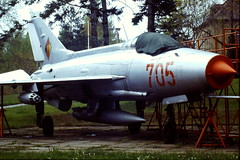MiG-21F.13 705 c/n 741707 ex Nationale Volksarmee/ NVA. Gate-Guard, Dresden Klotsche Airfield with Flugzeugwerft. 03-05-1992. (Aircraft throughout the years) Tags: dresden airfield gurevich nationale nva mikoyan 705 mig21 klotsche gateguard volksarmee flugzeugwerft nationalevolksarmee mig21f13 741707