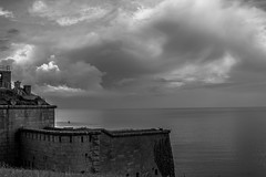 Nothe. (CiaranFitzgeraldPhotography) Tags: england blackandwhite castle water clouds landscape seaside cool pond fort awesome special dorset millpond nothe insta instagram