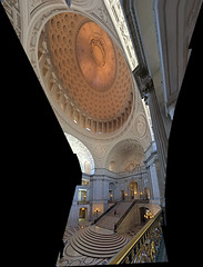 Interior of San Francisco City Hall (sjrankin) Tags: sanfrancisco california panorama northerncalifornia stairs cityhall edited interior steps cupola rotunda hdr 1june2016