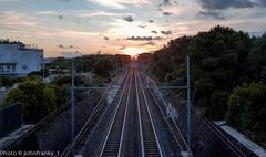 Verso l'infinito # To infinity (johnfranky_t) Tags: railroad trees sunset alberi del clouds t tren tramonto nuvole arboles pali ferrovia binari vias traversine johnfranky voiesferres