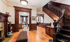 Brooklyn Bergen Street 1894 Victorian living room woodwork interior (techpro12) Tags: interior room stairway stairwell banister woodwork ornate historic victorian fireplace mantel mantle door pediment partition