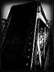 Old Bridge (lesliegill) Tags: bridge bw japan outdoors tokyo shadows steel urbanexploration bolts iphone 2016 iphoneography