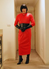 Red Again (3) (Furre Ausse) Tags: red black leather vintage belt long dress boots wide gloves