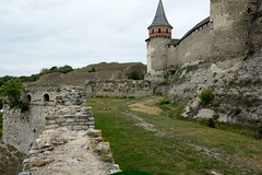 battery fortress (intui.pro) Tags: old roof plant building tower history tourism stone museum architecture landscape town ruins outdoor stones citadel stonework text towers reserve ukraine temples walls bastion stronghold fortress palaces fastness strengthening kamianetspodilskyi