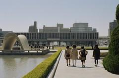 Hiroshima peace memorial park (happyflightsmile) Tags: kodak hiroshima nikonfe2 50mmf14ais profotoxl100