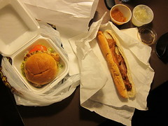 Chicken Burger from Twisters; Chilli Cheese Dog from Dog House (tanned and poached) Tags: travel friends food newmexico santafe 2015