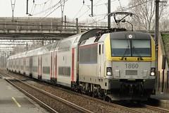 NMBS Electric locomotive N 1860 with a double deck train. (Franky De Witte - Ferroequinologist) Tags: de eisenbahn railway estrada chemin fer spoorwegen ferrocarril ferro ferrovia