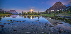 Glacier Moonrise Hidden Lake (Mike Filippoff) Tags: lake mountains reflection water still colorful quiet clear moonrise serene glaciernationalpark lovely hdr hiddenlake