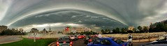 This morning sky. Arches clouds - shelf (Adrian Mitu) Tags: street morning sky panorama storm cars rain weather clouds buildings wonderful spectacular nice streetphotography arches shelf rare bucharest phenomenon archesclouds