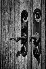 Chapel Doors (jpr_me) Tags: door blackandwhite bw film monochrome spring lock may newhampshire chapel nh epson woodgrain handles nashua fomapan100 2016 evergreencemetery doorhandles v500 f3hp kiron105mmf28macro blindphotographer chapeldoors andersonchapel antiquedoorhandles