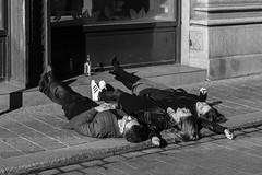 Young people in Krakw (uweihe1) Tags: street morning urban blackandwhite monochrome streetphotography poland polska happiness streetlife sunbath polen blacknwhite schwarzweiss krakw krakau urbanlife urbanphotography