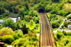 tilt shift (eggii) Tags: mountain germany bavaria top wrzburg railroadtracks tiltshift