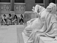 Lucretia Had Enough (CVerwaal) Tags: nyc blackandwhite sculpture usa ny newyork metropolitanmuseum lucretia cellphones marsyas sonyrx100iii