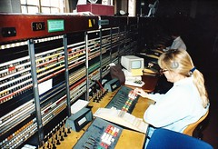 Telephonists working at auto-manual board 1990 (sunbeam31) Tags: cord fire office post please telephone central police ambulance number plug 100 lamps emergency exchange bt operator gpo brigade subscriber 999 switchboard switchroom telephonist