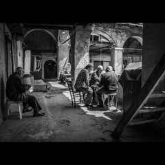 Playing backgammon in one of Istanbul's several hundred years old inns! (Mustafa Selcuk) Tags: street blackandwhite bw monochrome contrast turkey streetphotography monochromatic istanbul fujifilm sb bnw backgammon siyahbeyaz xpro2 16mmf14