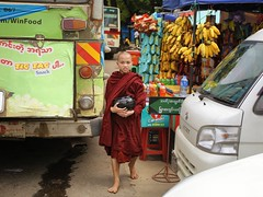 Bare feet little monk out on alms at Yangon bus station (Bn) Tags: monks buddhism littleteacher novice myanmar burma birma enlightenment meditation spiritual road alms modern nuns nun bhikkhuni rice ceremonial devote mandalay pink robes earthenred shaved girl umbrella four lifestyle meditative life city street candid theravada monk monastic monastery burmese sandals feet orange movement smile friendly boys disciple joy joyful emotion eomotions yangon rangoon bananas bus cars robe station bare barefeet little 50faves topf50 100faves topf100