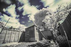 Untitled. (blackwoodse6) Tags: blue trees white clouds fence sony shed bluesky foilage falsecolour hoyar72 720nm sonya700