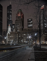 Night Scape (Jovan Jimenez) Tags: light panorama chicago building skyline architecture night canon lens landscape eos lights star focus cityscape f14 pano wide shift flare 24mm manual m3 tilt hdr tiltshift samyang mirrorless eosm3