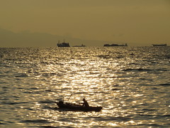 once upon a moonlight night (DOLCEVITALUX) Tags: sunset sea water island bay boat ship outdoor dusk ships philippines outrigger sunsetbythebay