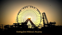 Greetings from Wildwood (judecat (getting back to nature)) Tags: sunset beach newjersey postcard ferriswheel wildwood