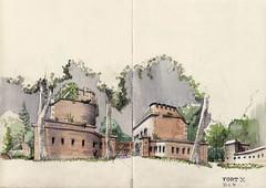 Cologne  Fort X (Namtra) Tags: pencil watercolor cologne kln watercolour bleistift perspektive aquarell fortx preusen arnohartmann uskgermany uskdsseldorfklnnrw klnerfestungsgrtel prussianfortressring uskduesseldorfkoeln