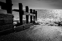 Hove beach (kylecollardart) Tags: wood sea blackandwhite white black beach brighton waves hove shore seafront groyne shorline breaker groin balckwhite seagroyne seagroin