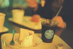 (Mii Yatogi) Tags: food film coffee cake night cafe bokeh