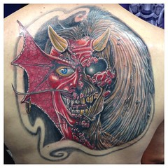 Put the finishing touches on Brian's Maiden piece tonight #puratory #ironmaiden #eddie #devil #music #metal #symbeos