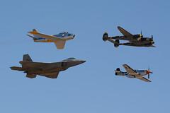 Heritage Flight (linda m bell) Tags: california airport aircraft airshow socal sabre raptor f22 lightning mustang chino p51 f86 planesoffame p38 2015 heritageflight