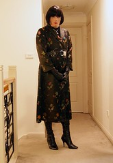 Oriental Inspired (4) (Furre Ausse) Tags: black leather asian belt long boots coat chinese gloves oriental satin brocade