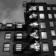 Walking Montreal 011 (noahbw) Tags: light summer vacation sky blackandwhite bw abstract reflection building window monochrome architecture clouds square landscape blackwhite nikon oldmontreal d5000 noahbw