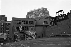 The Back of Main Street, Buffalo, NY (NFE_0043) (masinka) Tags: mainstreet buffalo ny newyork back film analog photography etbtsy ilford delta 100 nikon fe xtol plustek opticfilm timelessbuffalocom urban cityscape