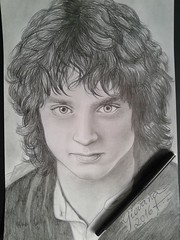 Frodo - Elijah Wood (Giovana Draw/ ) Tags: wood portrait white black art illustration pencil grey draw elijah frodo graphite grafite realista