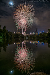 Central Park Fireworks (DSC01488) (Michael.Lee.Pics.NYC) Tags: longexposure moon lake newyork reflection fireworks centralpark sony cherryhill newyorkphilharmonic concertinthepark a7rm2 zeissloxia21mmf28