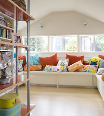 Pipe Shelves & Window Seat (Heath & the B.L.T. boys) Tags: window bench diy pipe pillow shelves playroom