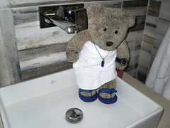 I got me own shower! (pefkosmad) Tags: bear vacation holiday ted june toy bathroom shower hotel stuffed bath soft sink teddy hellas fluffy towel greece plushie greekislands pefkos rhodes washing 2016 dodecanese pefki pefkoi tedricstudmuffin finashotel tedsholibobs