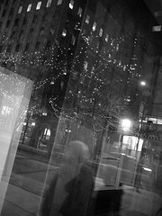 city at night (Ian Muttoo) Tags: street bw toronto ontario canada reflection night reflections gimp motionblur ufraw dsc56321edit