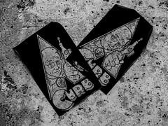 You Are Never to Old to Skateboard (Steve Taylor (Photography)) Tags: city newzealand christchurch blackandwhite streetart art monochrome wheel tattoo concrete graffiti sticker peeling monotone canterbury clockworkorange nz skateboard southisland cbd stark axle