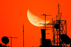 IMG_4869_edit1 (cnajhar) Tags: sunset sky moon bird photomanipulation dusk antenna