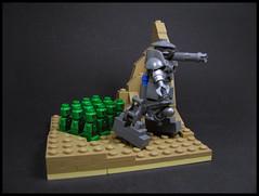 Battle Squad (Karf Oohlu) Tags: lego moc microscale microfig vignette tank walkingtank upright tanktank botsquadfighting squad
