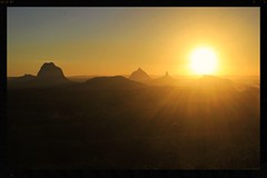 Smoke on the horizon (rachFNQ) Tags: sunset sun mountain mountains landscape glow view dusk smoke horizon australia lookout adventure queensland glasshousemountains nightfall sunshinecoasthinterland