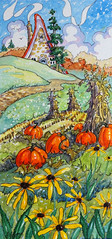 On the Cusp of Autumn One (cottagelover1953) Tags: storybookcottageseries cottage redroof deco retro vintage storybook browneyedsusans pumpkin autumn fall watercolor